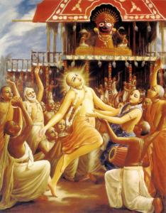 Бог Чайтаня танцува пред колесницата на Ратха-ятра